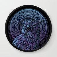 nouveau Wall Clocks featuring Owl Nouveau II by Jorge Garza