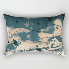 Autumn landscape with house and leaves Rectangular Pillow