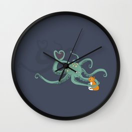 Octopus Loves Kitty Wall Clock