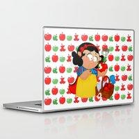 snow white Laptop & iPad Skins featuring Snow White (apple) by Alapapaju