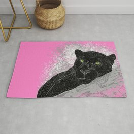 Black panther on a branch - Pink Rug