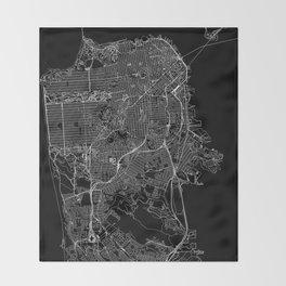 San Francisco Black Map Throw Blanket