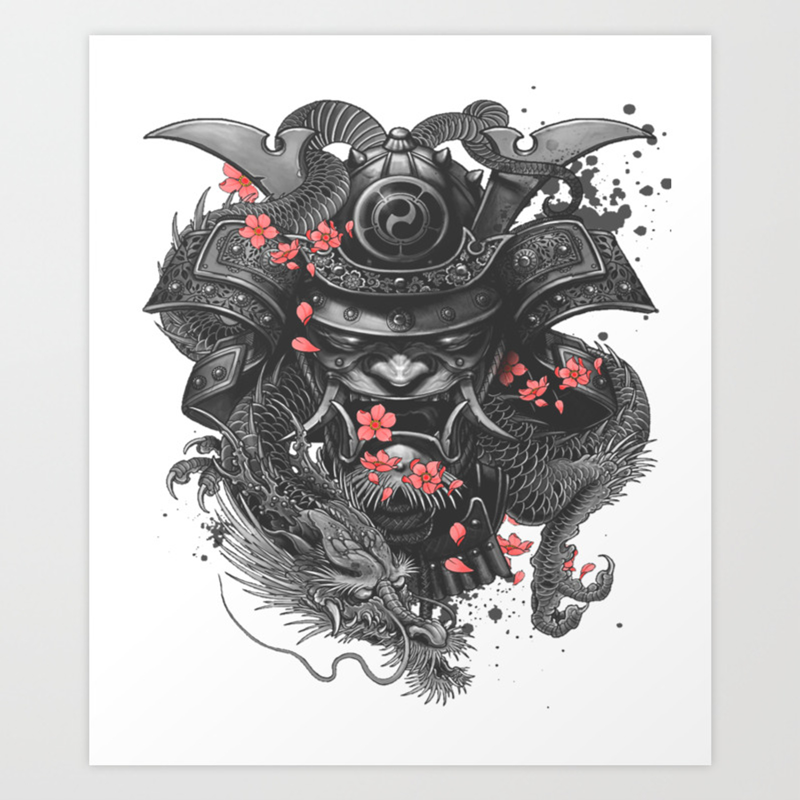 Samurai Warrior Japanese Bushido Knight T Shirt Accessories Art Print By Darkdreamer Society6