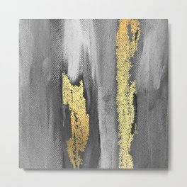 Grey Paint Brushstrokes Gold Foil Abstract Texture Metal Print