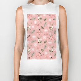 Xmas Pattern Pink #socieyt6 #buyart Biker Tank