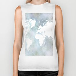 Design 68 light blue world map Biker Tank