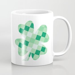 Checkered Shamrock. Four Leaf Clover. St Patrick's Day Coffee Mug