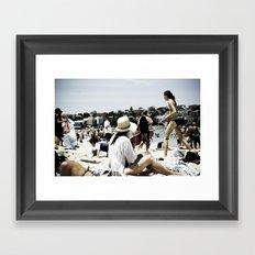 Bondi Beach people Framed Art Print