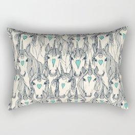unicorn love indigo mint pearl Rectangular Pillow