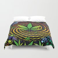 weed Duvet Covers featuring Weed Vortex by Prism Code