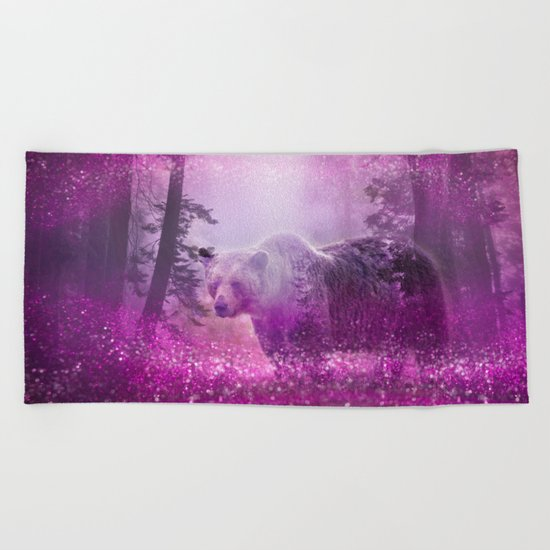 Fairy bear out of the woods Beach Towel