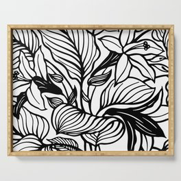 White And Black Floral Minimalist Serving Tray