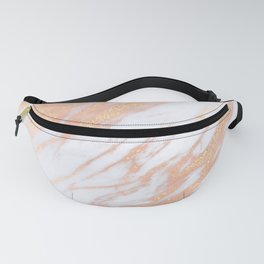 Marble - Rose Gold with Yellow Gold Glitter Shimmery Marble Fanny Pack