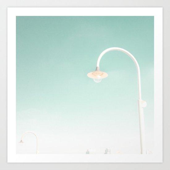 Midday Mist in pale blue Sky Art Print