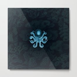 Octopus2 (Blue, Square) Metal Print