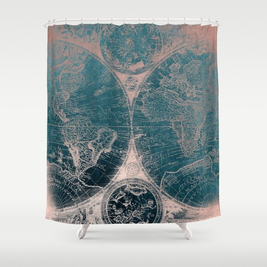 Antique Map Rose Gold Navy Blue Shower Curtain By Nature