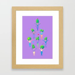 Topiary Ladies on Purple Framed Art Print