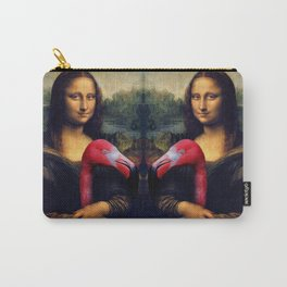 Mona Lisa and Her Flamingo Carry-All Pouch