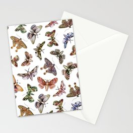 A Multitude Of Moths - Colorful Moth Pattern Stationery Cards