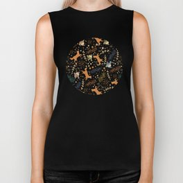 Autumn Woodsy Floral Forest Pattern With Foxes And Birds Biker Tank