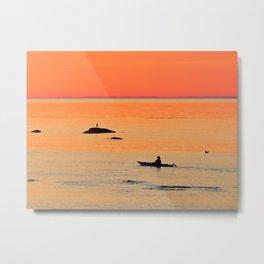 Kayak and Birds under Orange Skies Metal Print