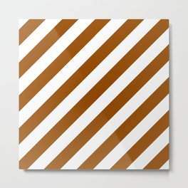 Diagonal Stripes (Brown/White) Metal Print