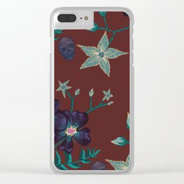 Illustration digital art purple flower pattern with skull red  background Clear iPhone Case