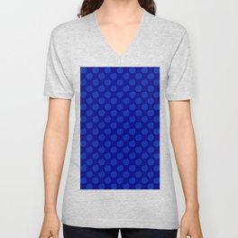 Brandeis Blue on Navy Blue Spirals Unisex V-Neck