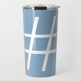 number sign on placid blue color background Travel Mug