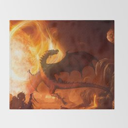 Dragon's world Throw Blanket