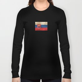 Vintage Aged and Scratched Slovakian Flag Long Sleeve T-shirt