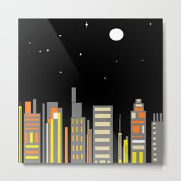 Full Moon light Cityscape Metal Print