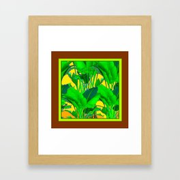 COFFEE BROWN TROPICAL GREEN & GOLD FOLIAGE ART Framed Art Print