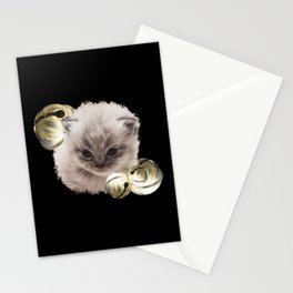 Baby cat with little bell, cute cat, baby animals Stationery Cards
