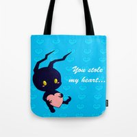 kingdom hearts Tote Bags featuring Kingdom Hearts - Heartless by UncannyViolet