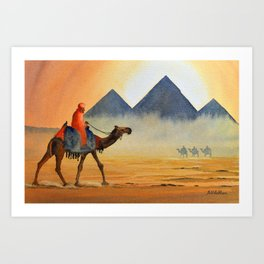 Sudden Sand Storm At Giza Pyramids Egypt Art Print