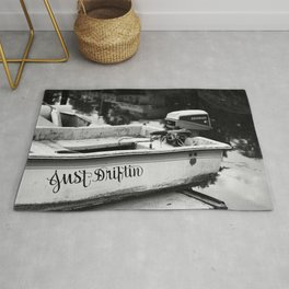 Motor Boat Skiff Dingy Fishing Fisherman Drifter Funny Art Northwest Black White Print Rug