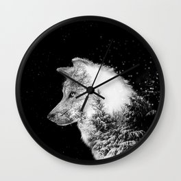 Winter Wolf Wall Clock