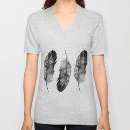 Three Feathers Black And White II Unisex V-Neck