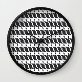 Black and white geometric abstract background, cloth pattern, goose foot. Pied de poule. Ve Wall Clock