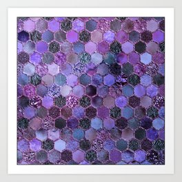 Purple geometric hexagonal elegant & luxury pattern Art Print