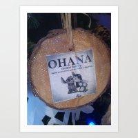 ohana Art Prints featuring ohana by smilingbug