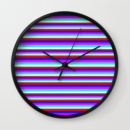 Colored Stripes - Fire Red Royal Blue Pink Mint White Wall Clock
