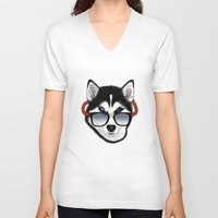 husky V-neck T-shirts featuring HUSKY by Rebeca Zum