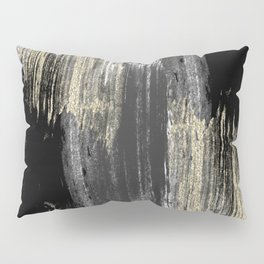 Abstract modern black gray gold glitter brushstrokes Pillow Sham