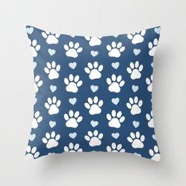 Dog Paws, Traces, Animal Paws, Hearts - Blue White Throw Pillow