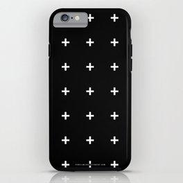 White Plus on Black /// www.pencilmeinstationery.com iPhone Case