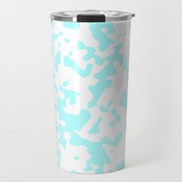 Spots - White and Celeste Cyan Travel Mug