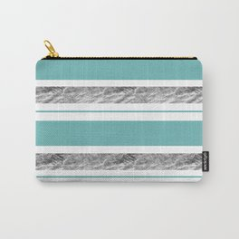 Aqua Blue Stripe with Silver Carry-All Pouch