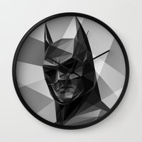 bat man Wall Clocks featuring Bat man by Filip Peraić